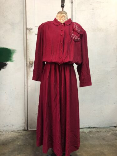 Vintage 1940s Raspberry Red Crepe Rayon Dress Bead