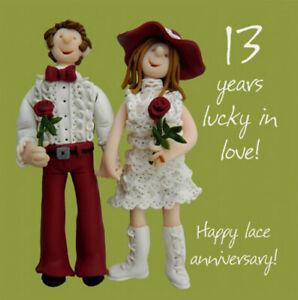 Anniversario Matrimonio 13 Anni.13th Biglietto D Auguri Anniversario Di Matrimonio 13 Anni