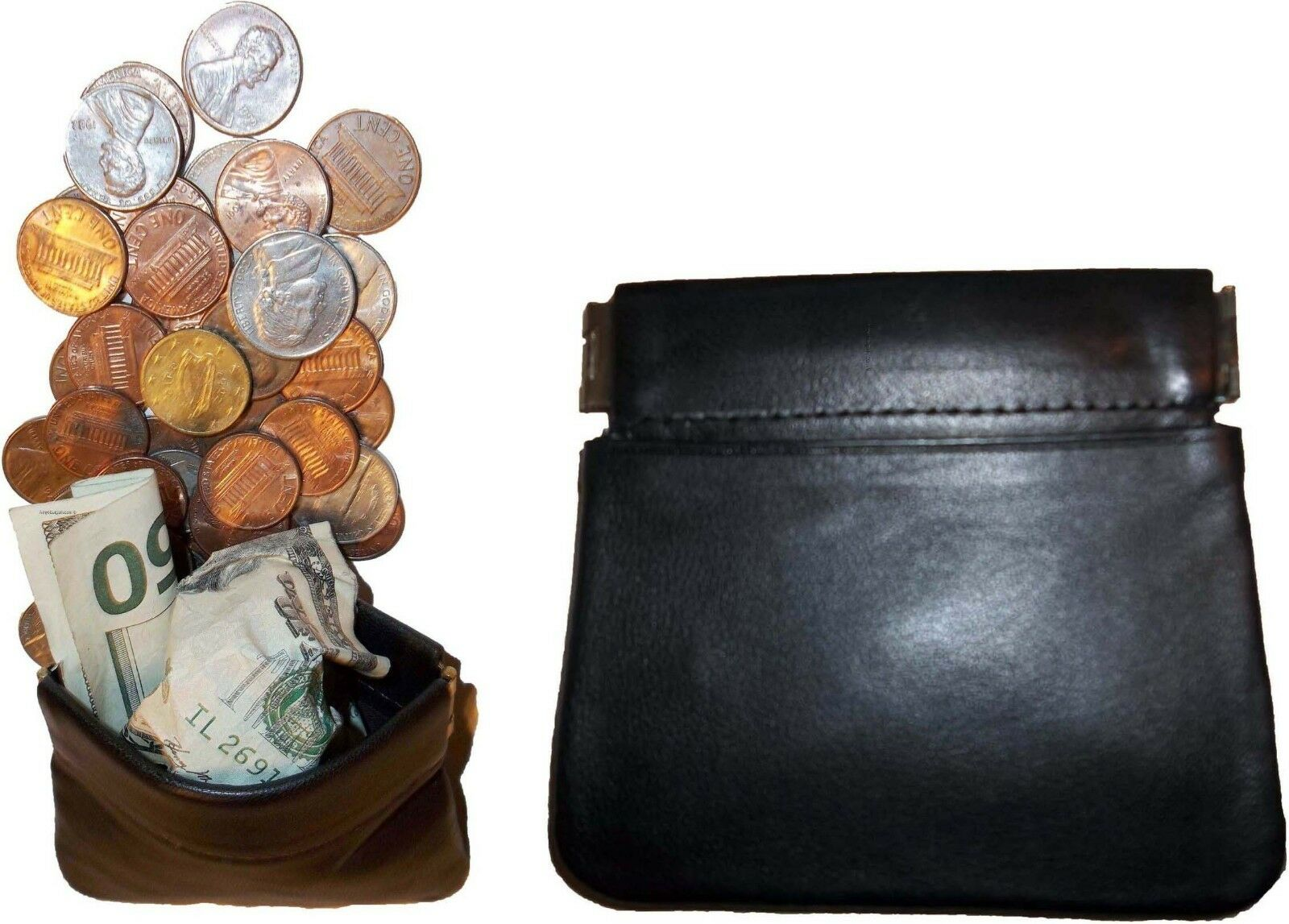 change purse genuine leather squeeze coin case change case coin wallet moneda bn