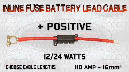 110 AMP TRUCK BATTERY LEAD CABLE BUILT-IN INLINE MIDI FUSE BOX POSITIVE NEGATIVE