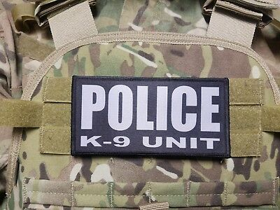 "3x8/"" POLICE K9 UNIT Black Grey Tactical Hook Plate Carrier Morale Raid Patch"