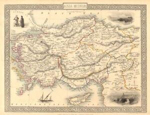 ASIA MINOR Turkey Cyprus Dodecanese Rhodes view TALLIS RAPKIN