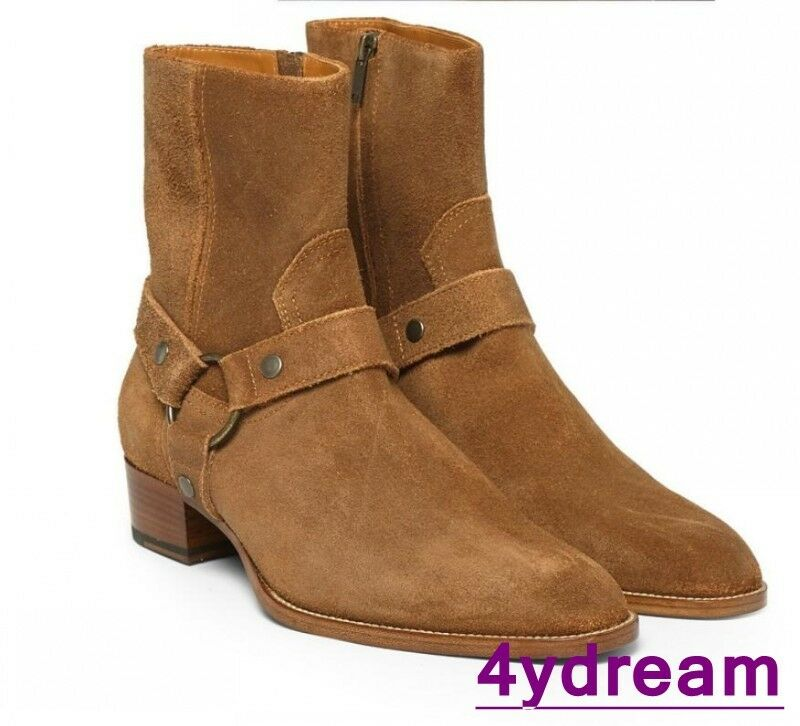 Top Sale Mens Pointed Toe Genuine Leather Suede Buckle Ankle Cowboy Boots shoes