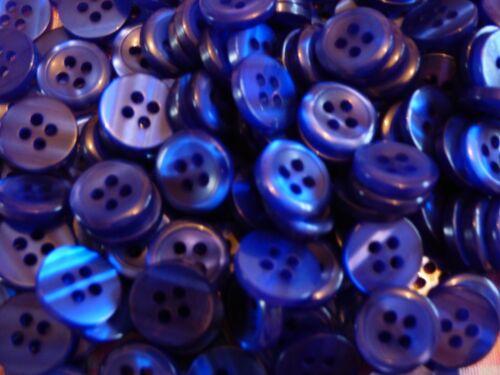 11.5 mm Petit Taille 18 L X 50 Royal Bleu 4 Trous nacré Chemise Boutons à coudre