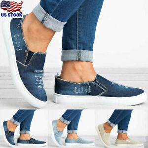 Women-039-s-Denim-Canvas-Loafers-Round-Toe-Casual-Flats-Shoes-Slip-On-Shoes-Size-5-8