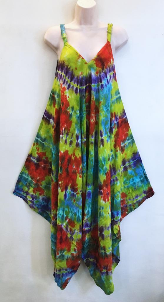 Hippie Bohemian Gypsy Festival Baggy Harem Tie Dye Stripe Jumpsuit 218122