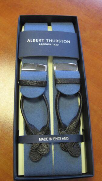Albert Thurston Avvolto In Pelle Fine Bretelle Sassonia Blu