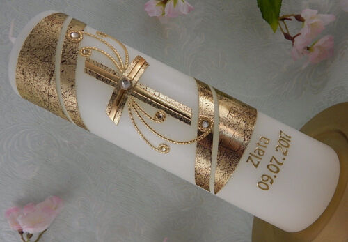 Taufkerze Kreuz gold mit Wachs handverziert Taufkerzen Junge Mädchen 250x70 mm