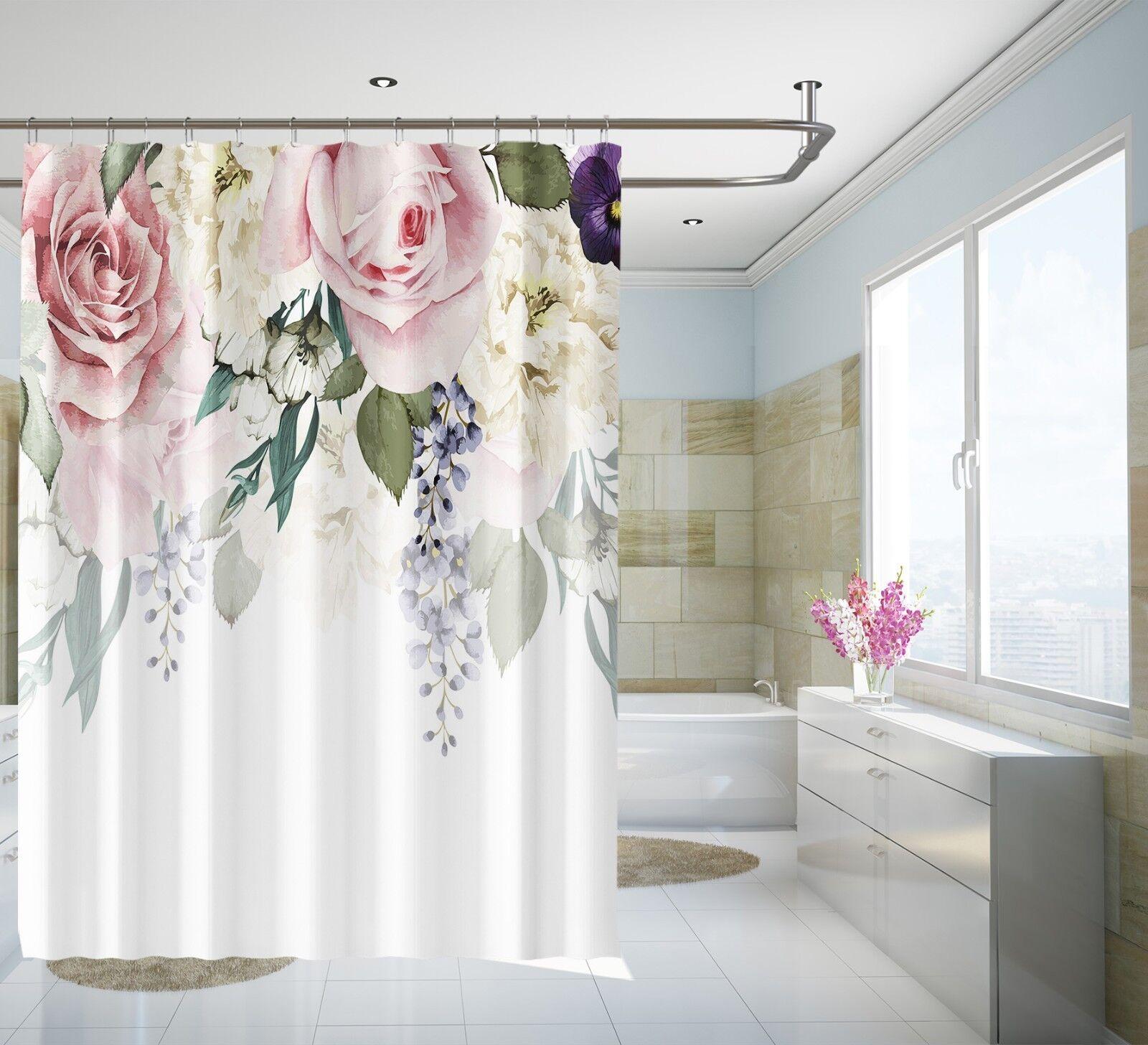 3D belle fleur 32 Rideau de Douche Imperméable Fibre Salle De Bain Windows Toilette