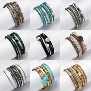 Fashion-Women-Multilayer-Leather-Magnetic-Wrap-Cuff-Charm-Bracelet-Jewelry-Gift