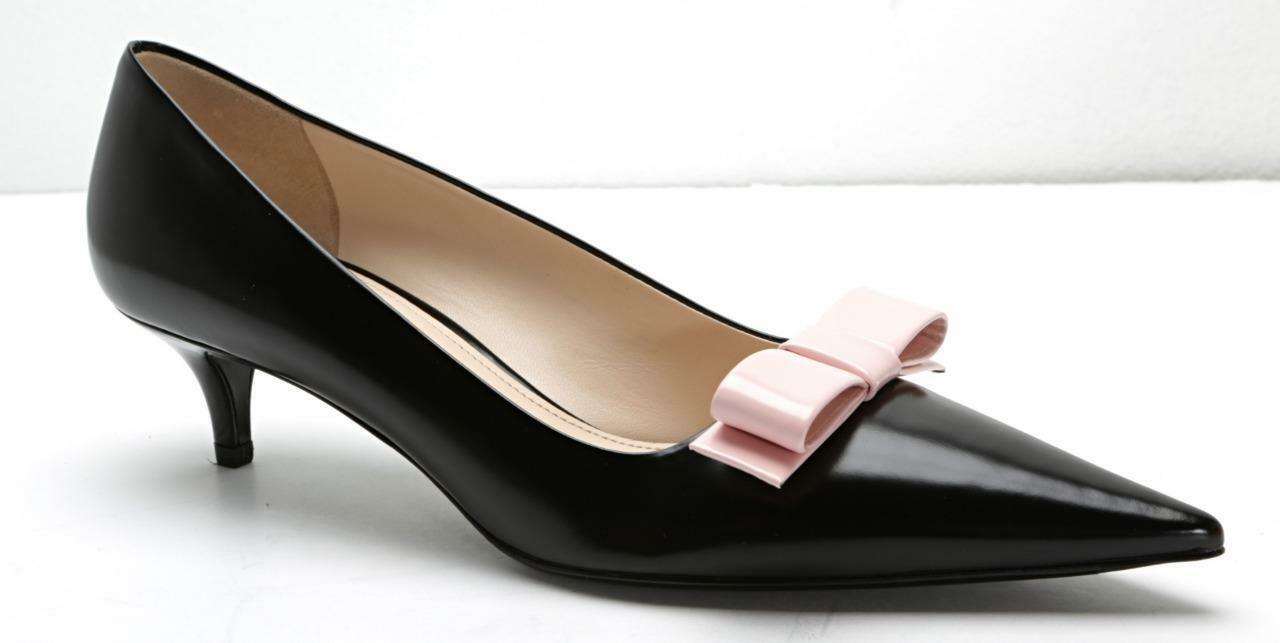 PRADA Womens Black Leather Light-Pink Bow Pointed-Toe Kitten-Heels 8.5-38.5 NEW
