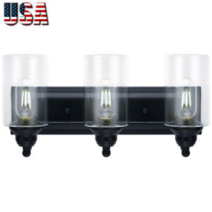 3-Light-Vanity-Light-Fixture-Modern-Clear-Glass-Shades-Lighting-Fixtures-Black