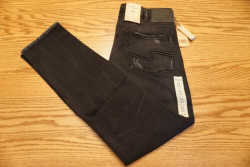 NWT MENS SILVER JEANS Multiple Sizes Taavi Slim Fit Distressed Black M2188SMB526