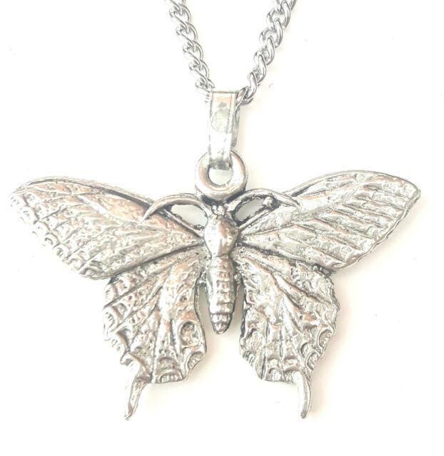 Butterfly Pendant Handcrafted In Solid Pewter In The UK + Free Gift Box PN61