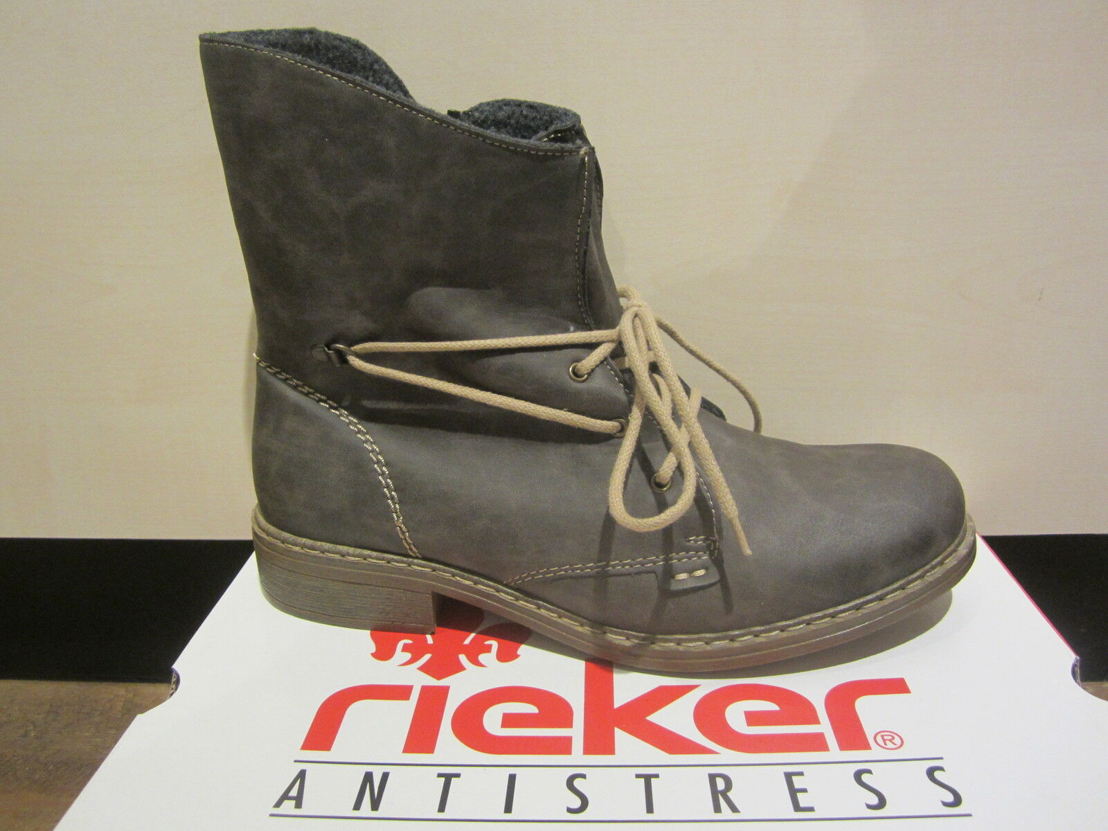 Rieker Lace Up Boots with Zipper, Grey, Lightly Lined, NEW