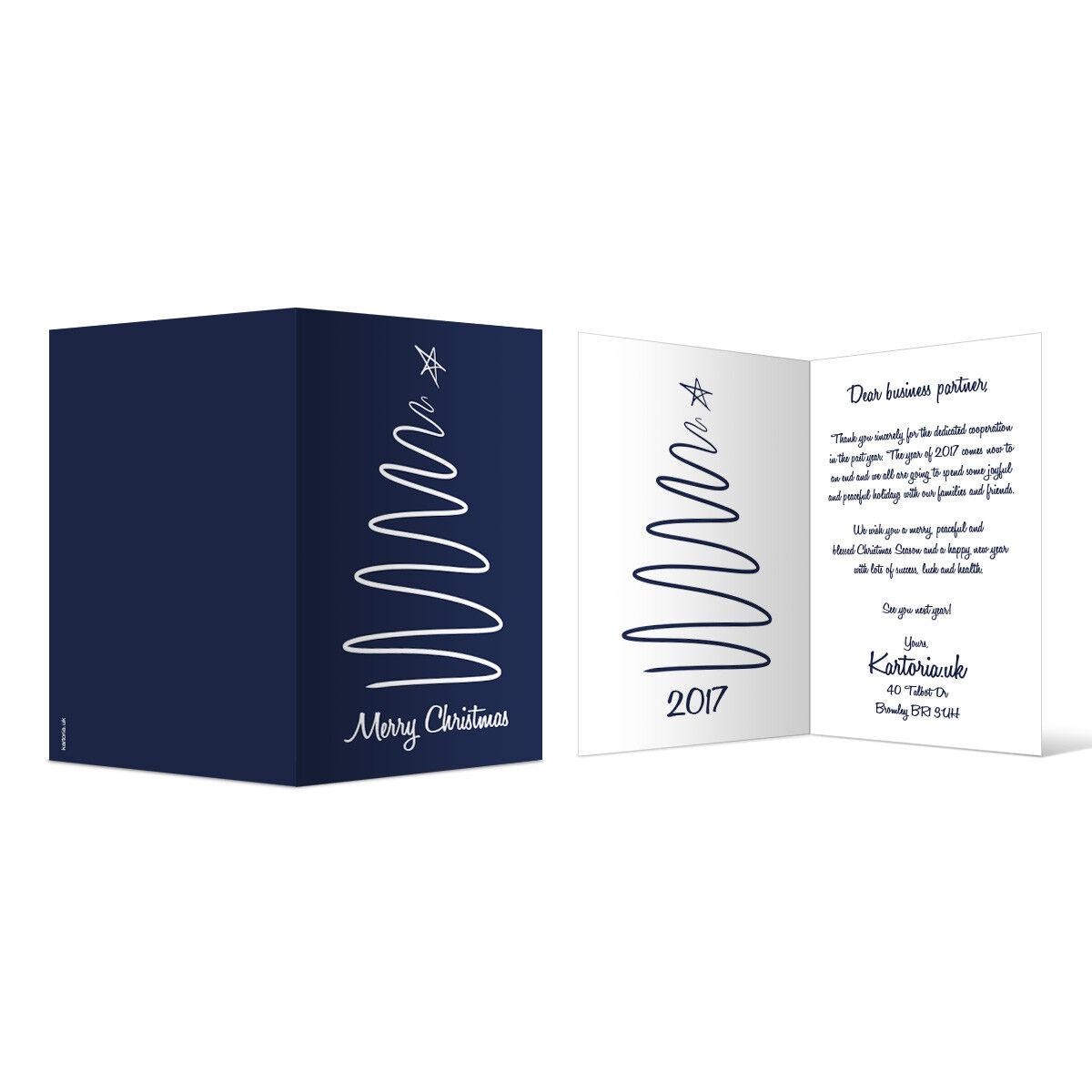 Business Christmas Xmas Greeting Cards Personalised - Blau drawn Christmas Tree