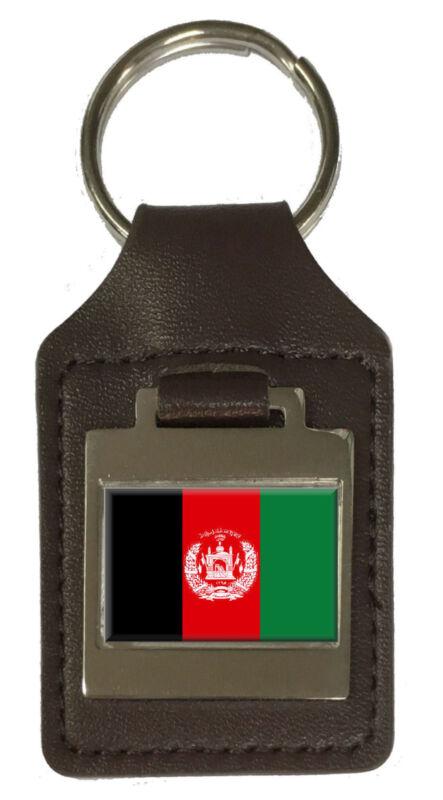 Leather Keyring Engraved Afghanistan Flag