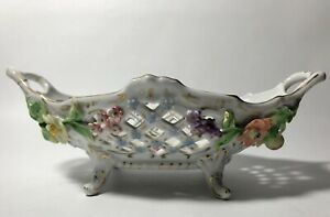 9-034-x-5-1-2-034-Dresden-Porcelain-Reticulated-amp-Floral-Painted-Decorative-Basket