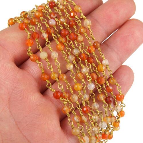 1 M Naturelle Agate Stone Faceted Gem Rosaire Perles Cuivre Chaîne Fit À faire soi-même Collier