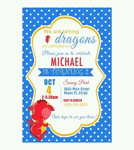 30 Invitations Dragon Party Card Boy Birthday Personalized Baby