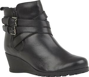 Lotus-FARROW-Ladies-Womens-Smooth-Genuine-Leather-Wedge-Heeled-Ankle-Boots-Black