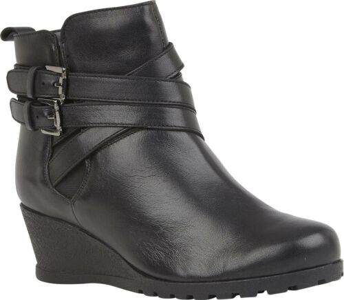 Lotus FARROW Ladies Womens Smooth Genuine Leather Wedge Heeled Ankle Boots Black