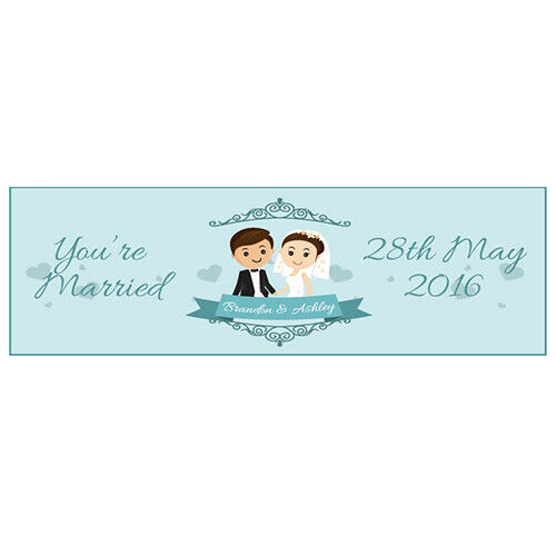 YOU/'RE MARRIED 2 PERSONALISED WEDDING BANNERS 800mm x 297mm