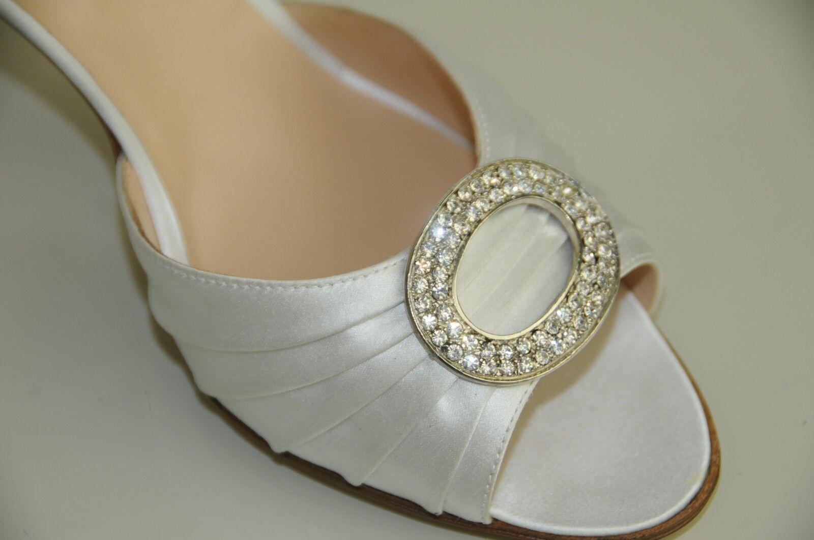 $785 NEW SHOES MANOLO BLAHNIK SEDARABY 90 Weiß Satin JEWELED SHOES NEW 41 Wedding Bridal 9401be