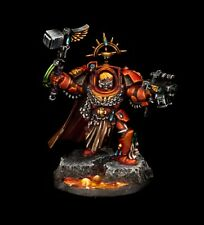 Warhammer 40k Space Marines Captain Karlaen, pro-painted with decorated stand.