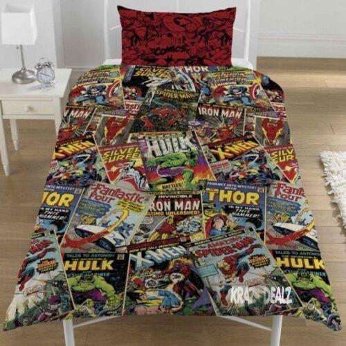 Marvel Comics Single Duvet Cover Bed Set Polycotton Avengers Xmen Spiderman