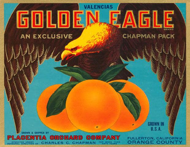 Cassette Cassette Cassette Etichetta oroen Eagle Valencia Arancione California USA Vintage Poster 3048d4