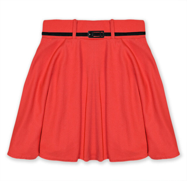 Girls Skater Skirt Kids Party Skirts With Belt New Age 7 8 9 10 11 12 13 Years