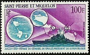 ST. PIERRE & MIQUELON Very Fine Mint LH Air Post Stamp Scott# C-36 CV 45.00$
