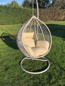 Rattan Swing Patio Garden Weave Hanging Egg Chair Frame Cushion In Or Outdoor Ebay