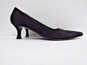 Salvatore-Ferragamo-Size-9-AA-EU-39-5-Black-Suede-Leather-Pump-Shoes-For-Women