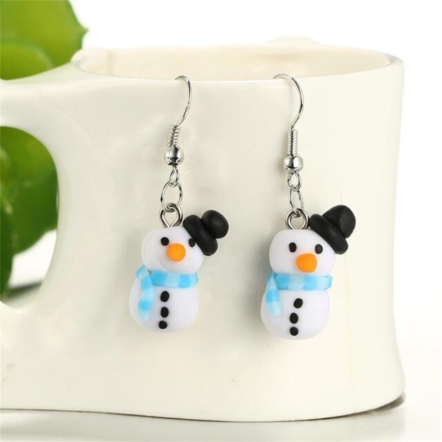 Polymer Clay Christmas Earrings.Women Lovely Jewelry Handmade Ear Stud Polymer Clay Snowman Christmas Earrings