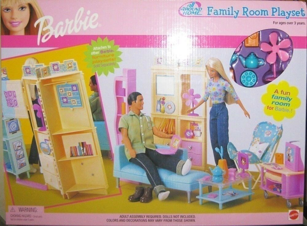 Barbie-todo alrojoedor de casa Conjunto de Juego De Sala de Familia  en Caja Original  fechada 2000