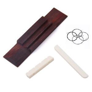 Cream-Nut-and-Saddle-Slotted-110mm-Rosewood-Bridge-4-Black-String-for-Ukulele