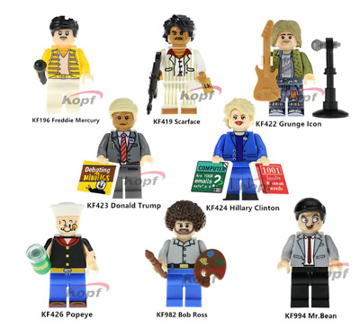 6 PCS Minifigures lego MOC Mr Bean The Godfather Freddie Mercury Stephen Curry