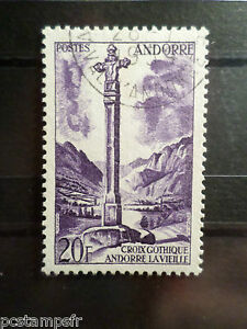ANDORRE-FRANCAIS-1955-timbre-148-CROIX-GOTHIQUE-oblitere-VF-USED-STAMP