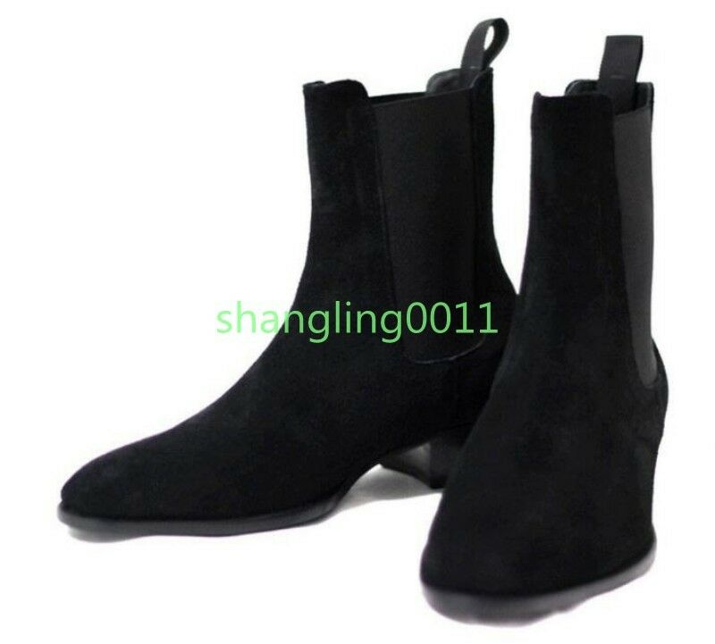 Uomo Fashion Suede Leather Pointy Toe Heels Ankle Boots Combat Chelsea Shoes 46