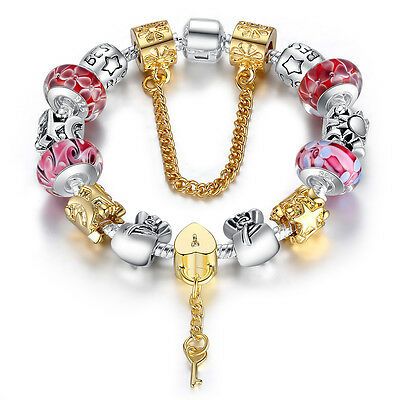 High Quality European Silver Charm Bracelet for Women with Murano Glass DIY 20cm