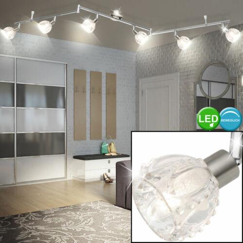 Chrom LED Decken Spot Lampe Strahler beweglich Leuchte Kristall Glas Wohn Zimmer