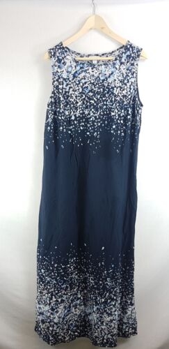 All Sizes New J Jill PureJill Multi-Blue Sleeveless Knit Maxi Long Dress