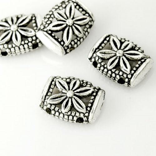 50stk Tibetisches Silber Spacer Bars Metall Perlen Schmuck Rechteck 14.5x11mm
