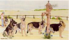 German Shepherd Print: Off To The Dog Show by UK Artist Sandra Coen LAST ONE!