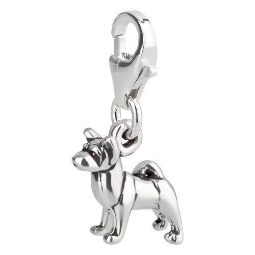 Charm//remolque perro akita con karabinerverschluß procedentes de 925 plata Sterling
