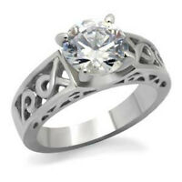 8.5 mm 316 Stainless Steel Solitaire April Clear Birthstone Lady Ring Size 5-10