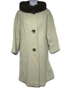 VINTAGE-50-039-s-60-039-s-Union-Oatmeal-Beige-Tan-Brown-Fur-Collar-Wool-Tweed-Swing-Coat