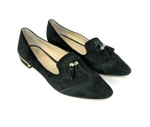 Vince-Camuto-Rizell-Womens-Size-7-5-Black-Suede-Tassel-Loafers-Wingtip